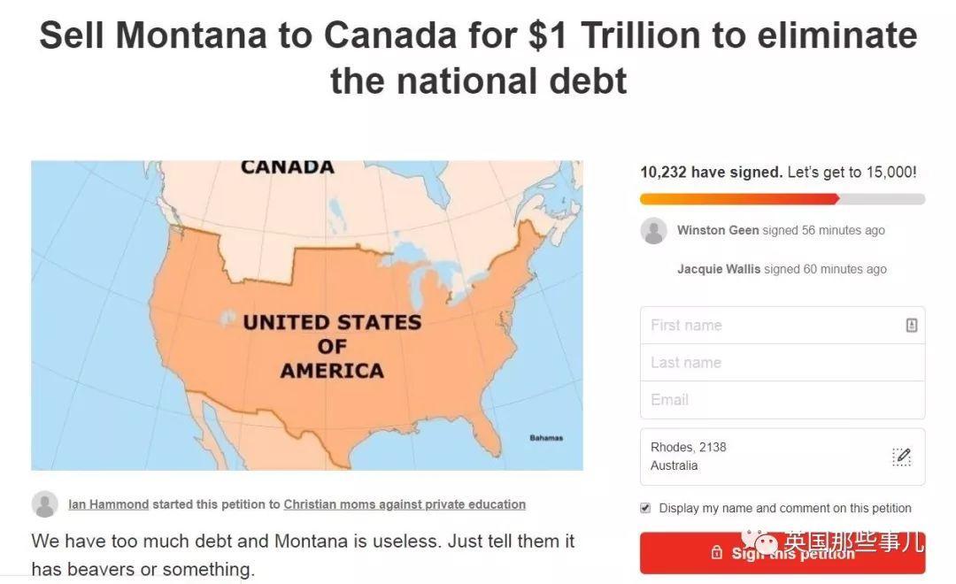 美国欠债22万亿,上万网友开始请愿出卖国土还债...