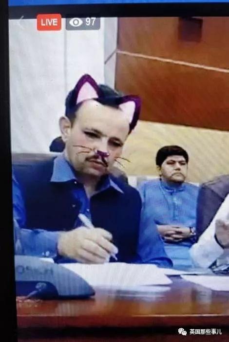 巴基斯坦地方政府决定网络直播会议。然而,忘关猫咪滤镜了!