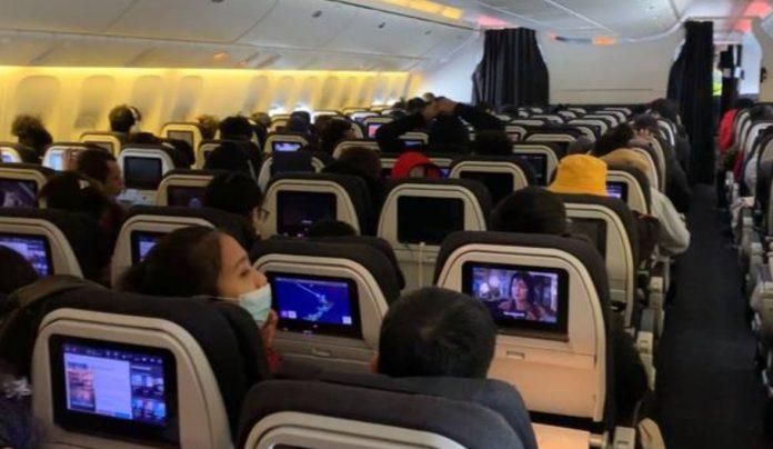 新西兰航空(ANZ1942)航班从武汉撤侨。
