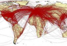 这个地图显示了从武汉离开的这六万人飞往世界各地的航班连线。