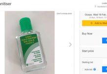 一瓶手消毒剂在Trade Me上卖50纽币。