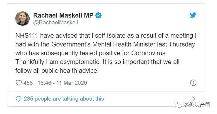 英国累计456例! 卫生部副部长确诊, 才和Boris开过会! Boris却不做检测!