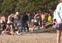 奥克兰的海滨人头涌涌。
